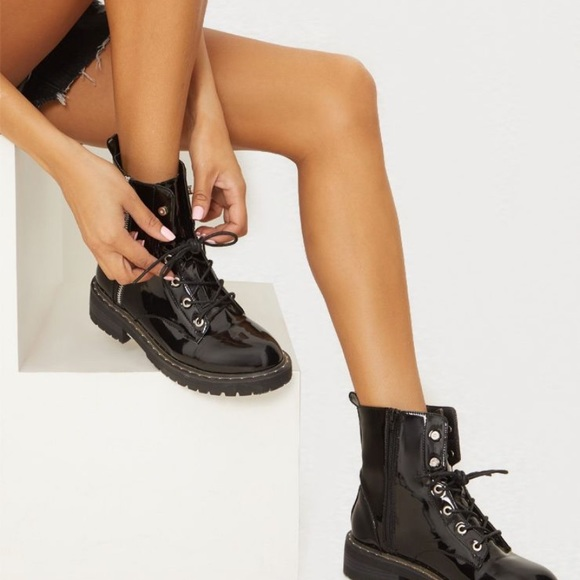 Plt Black Chunky Lace Up Boot